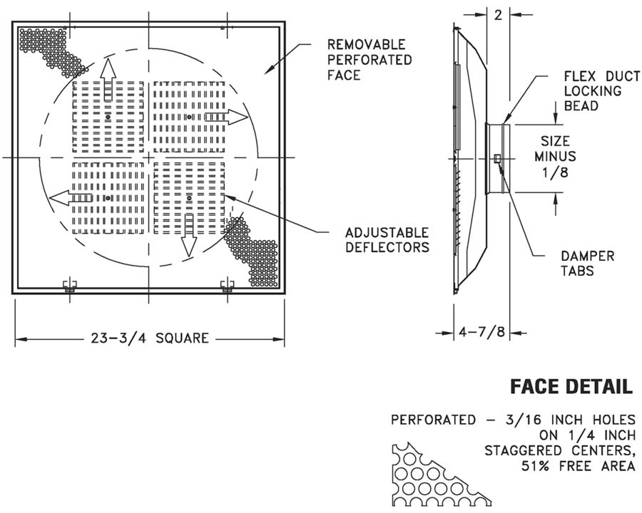 """SBP - Steel Shallow Back Perforated Supply with Adjustable Deflectors, 6-14"""" Fixed Collars - dimensional drawing"""