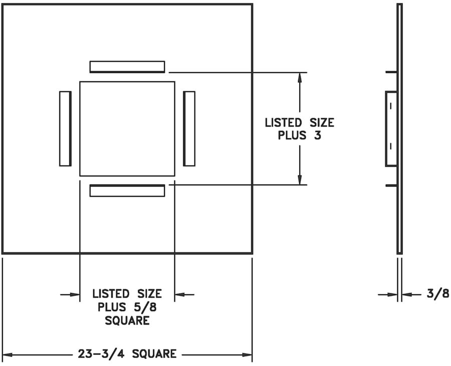 A500P — T-bar Panel for A500 Ceiling Diffuser - dimensional drawing