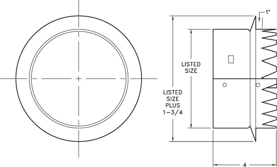 "6400 - Galvanized Steel Tab Collar (6-14"") - dimensional drawing"