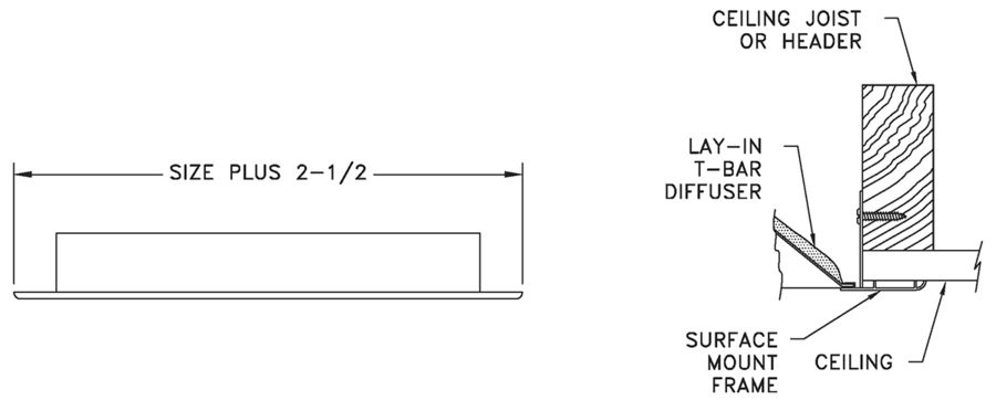 SMF - Surface Mount Frame for T-bar Diffusers - dimensional drawing