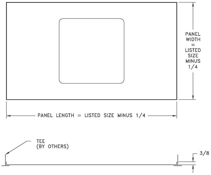 P PANEL - Filler Panel to Convert Sheetrock GRD for T-bar Applications - dimensional drawing