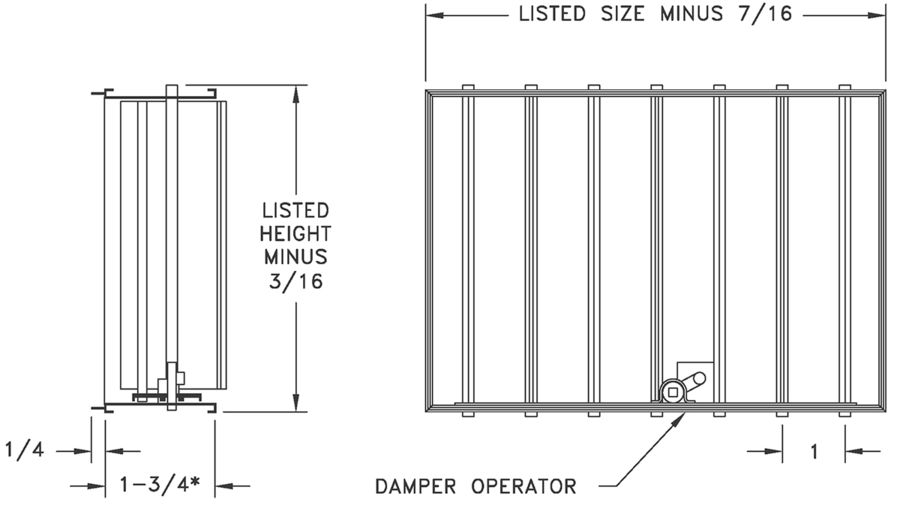AD - Aluminum Opposed Blade Damper - dimensional drawing