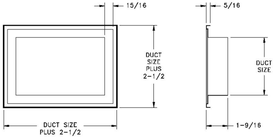 APF - Aluminum Plaster Frame - dimensional drawing