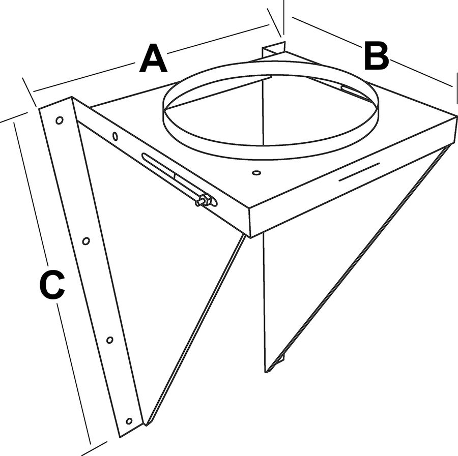 TLCAWS - Adjustable Wall Support - dimensional drawing