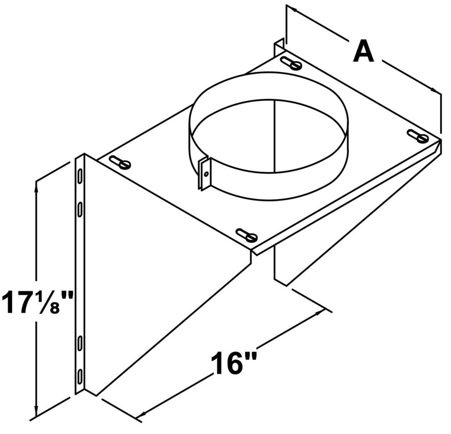 TLCIWS — Adjustable Intermediate Wall Support - dimensional drawing