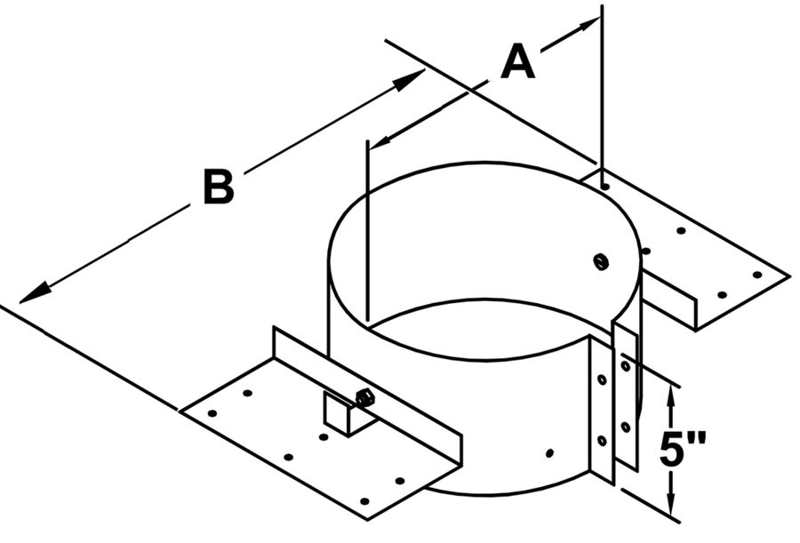TLCRS - Adjustable Roof Supports - dimensional drawing