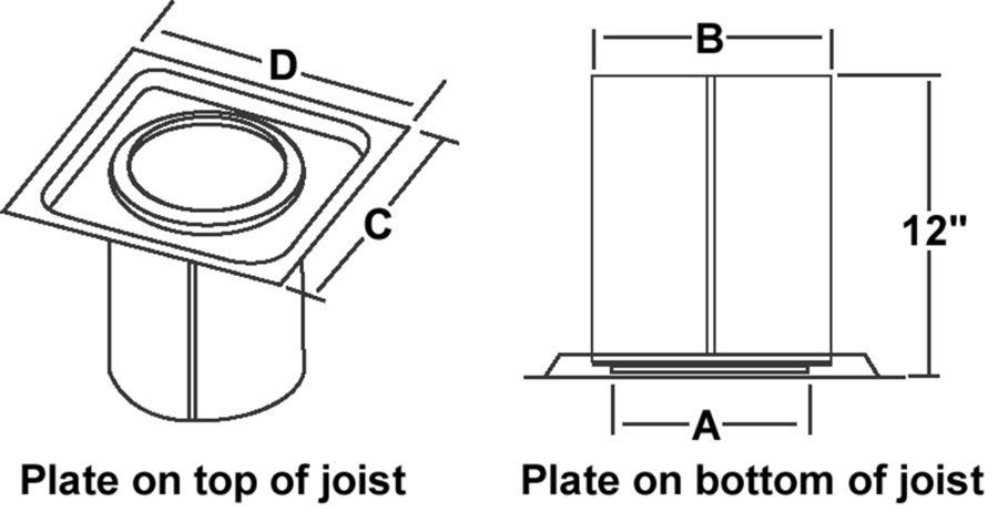 TLCFRS - Firestop Joist Shield - dimensional drawing