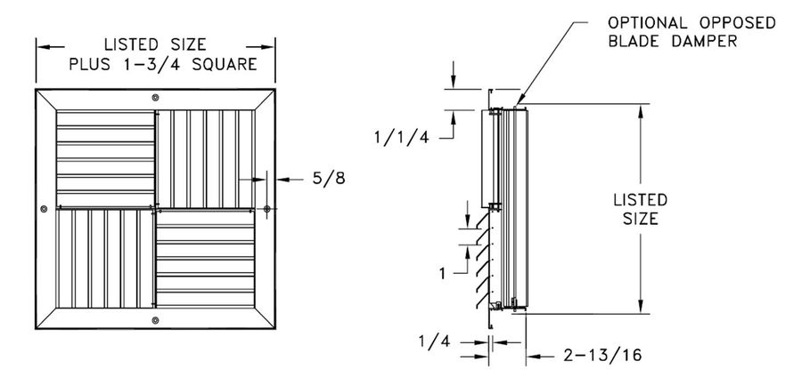 MCDD — Aluminum Adjustable Modular Core Diffuser, Flat Margin, with OBD option - dimensional drawing