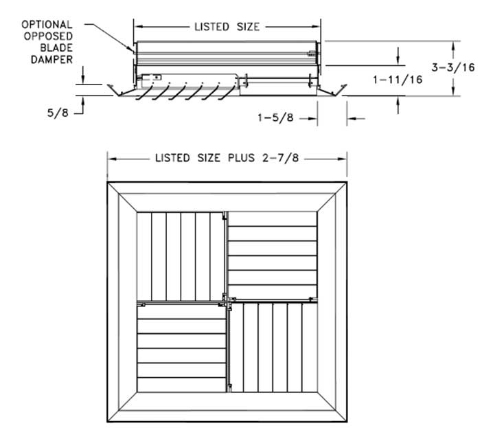 MCDS - Aluminum Adjustable Modular Core Diffuser, Beveled Margin, with OBD option - dimensional drawing