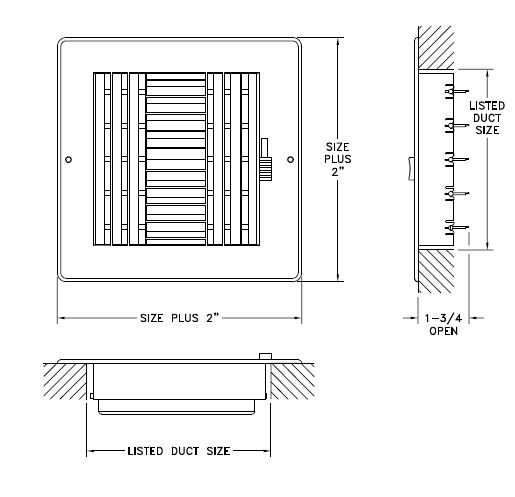 RZ684 - Rezzin 4-way Register, MS damper - Dimensional Drawing