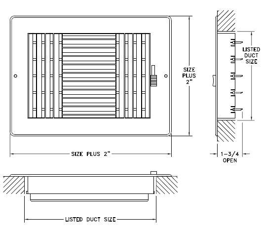 RZ683 - Rezzin 3-way Register, MS damper - Dimensional Drawing