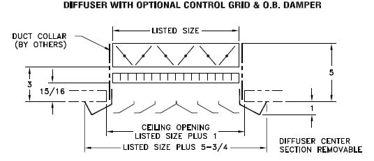 SRS — Steel Louvered Ceiling Diffuser, Beveled Margin - dimensional drawing