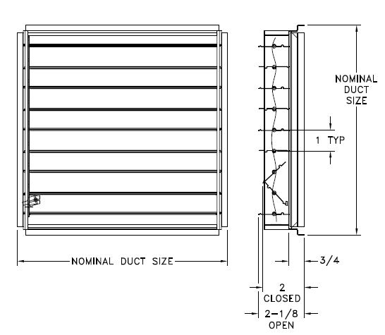 SR7 — Steel OBD damper for SRE/SRS Ceiling Diffuser - dimensional drawing