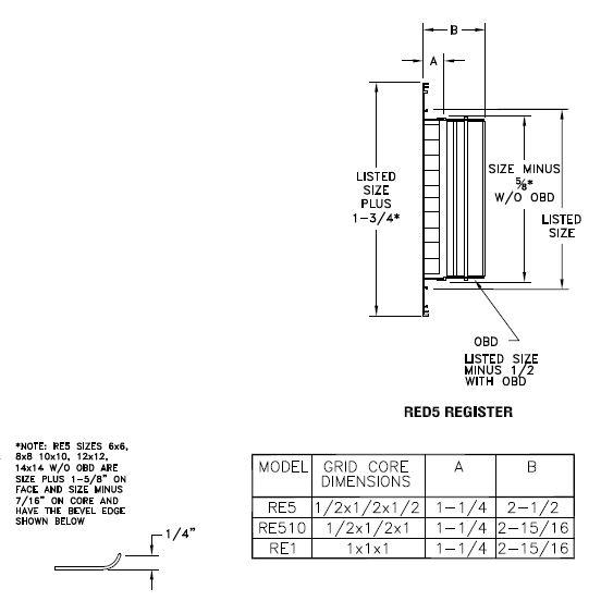 RE5 - Aluminum Eggcrate Return Air Grille -- dimensional drawings