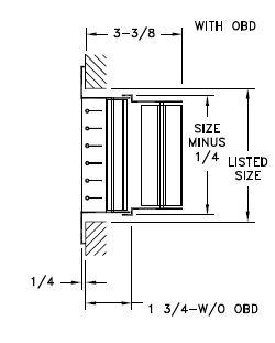 92VHO - Steel Double Deflection Register, No damper - dimensional drawing