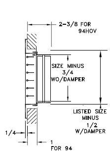 94HOV - Steel Register, 0-degree Fixed Blade, OBD damper - dimensional drawing
