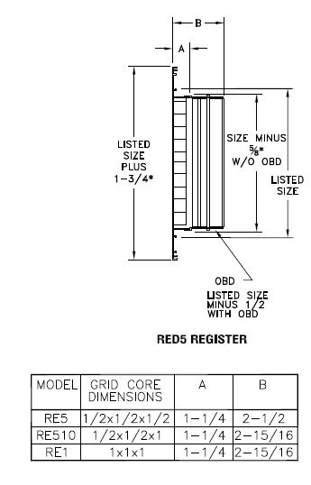 RED5 - Aluminum Eggcrate Return Air Grille with OBD damper - dimensional drawing