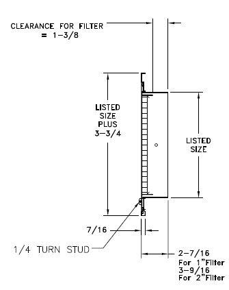 REF5 - Aluminum Eggcrate Return Air Filter Grille - dimensional drawing