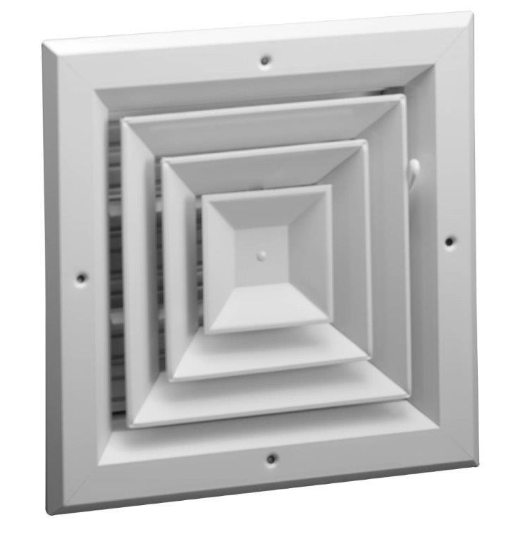 A504 Aluminum 4 Way Ceiling Diffuser Ms Or Obd Damper