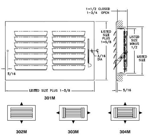 300M — Steel Curved Blade Registers 1-4-way, Metal Handle, MS damper