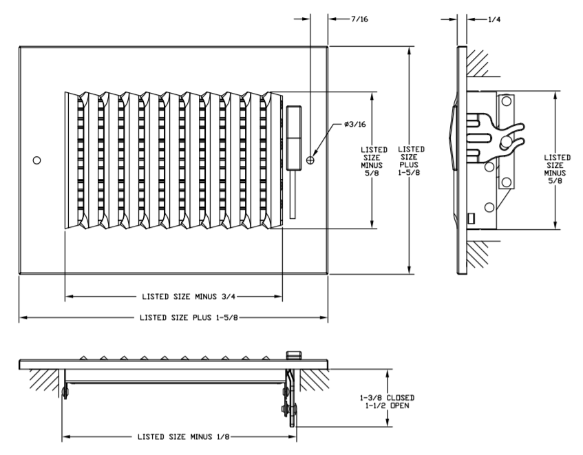 "681/A681 - Steel/Aluminum 1-way Register, MS damper, 1/2"" Fin Spacing -Dimensional Drawing"
