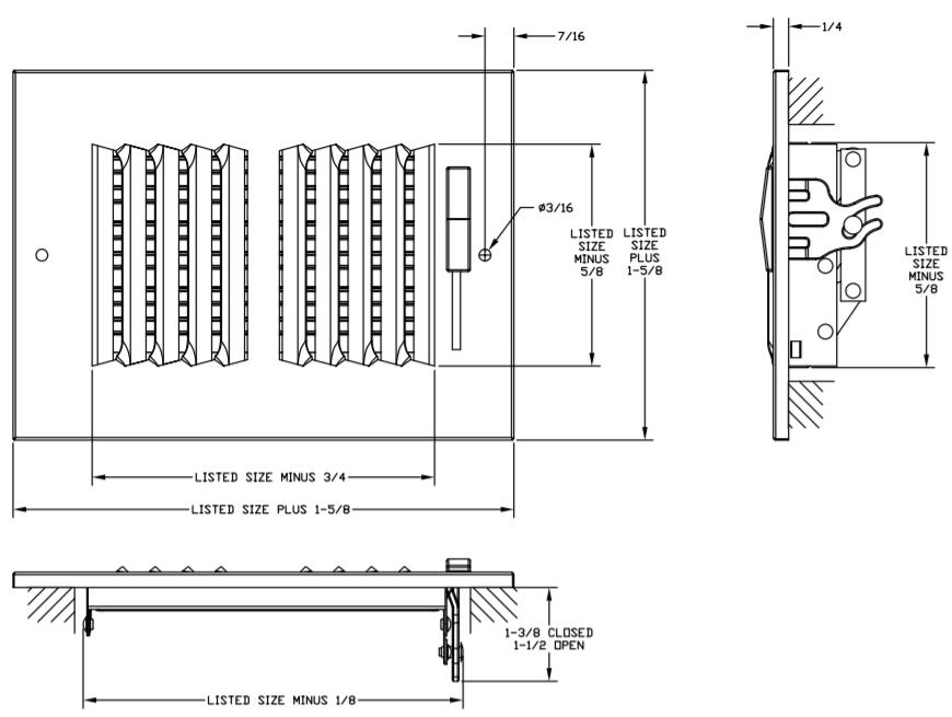 682/A682 - Steel/Aluminum 2-way Register, MS damper, 1/2