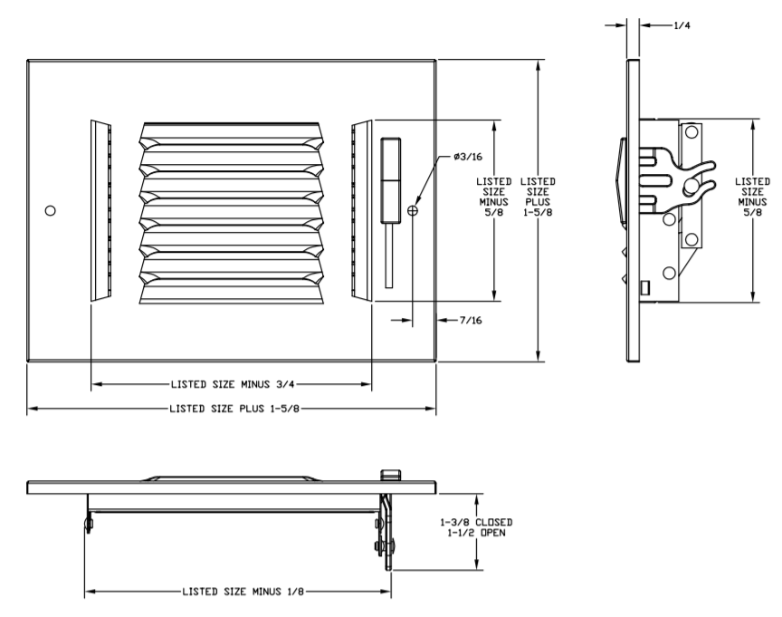 "683/A683 - Steel/Aluminum 3-way Register, MS damper, 1/2"" Fin Spacing -Dimensional Drawing"