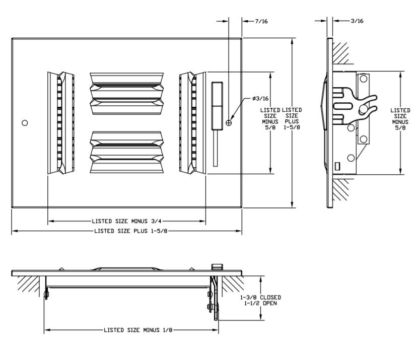 "684/A684 - Steel/Aluminum 4-way Register, MS damper, 1/2"" Fin Spacing - Dimensional Drawing"