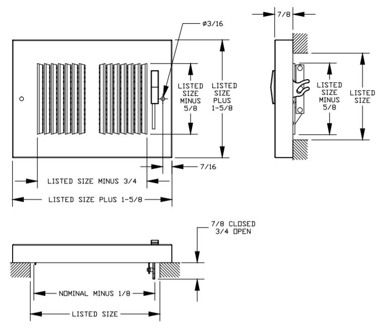 664 - Steel Baseboard Register, Multi-Shutter Damper -dimensional drawing