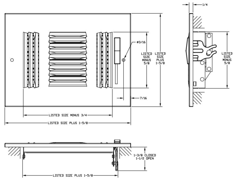 "631 - Steel 3-way Register, MS damper, 1/3"" Fin Spacing"
