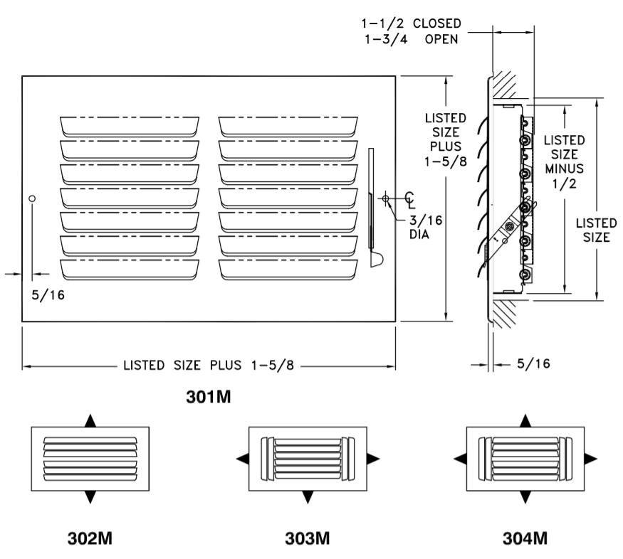 300M - Steel Curved Blade Registers 1-4-way, Metal Handle, MS damper