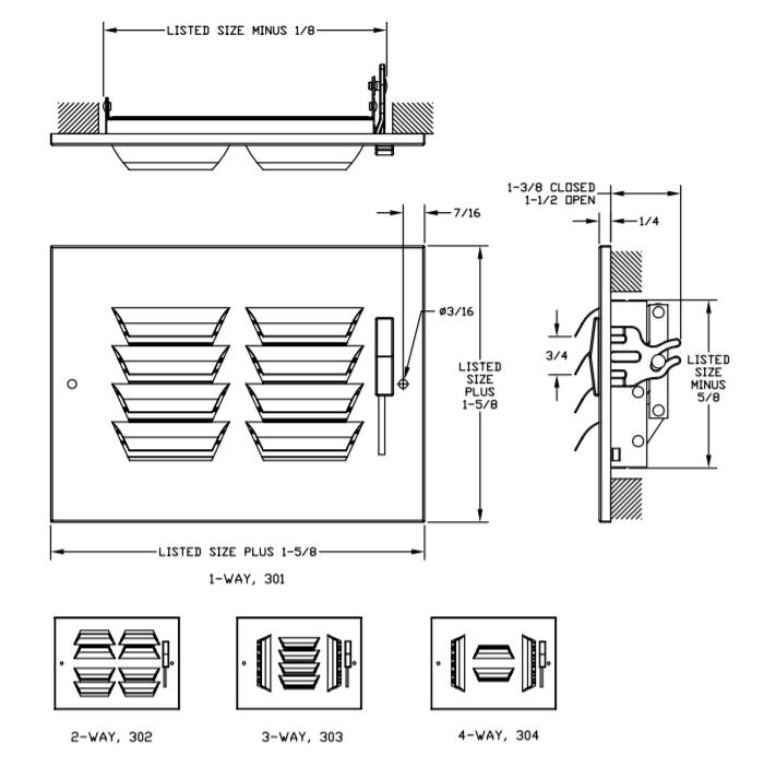 303/A303 - Steel/Aluminum Curved Blade, 3-way Register, MS damper