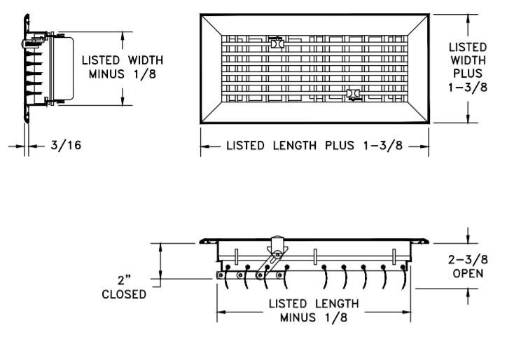 531 - Aluminum Floor Register - Dimensional Drawing