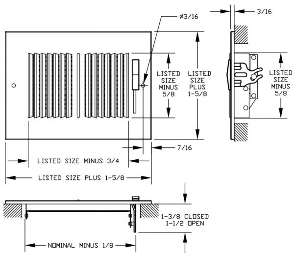 "661/A661 - Steel/Aluminum 2-way Register, MS damper, 1/3"" Fin Spacing"