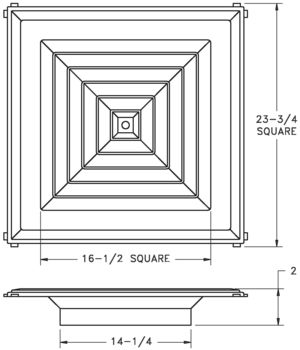 RZSRT — Rezzin 4-way Louvered Diffuser - dimensional drawing
