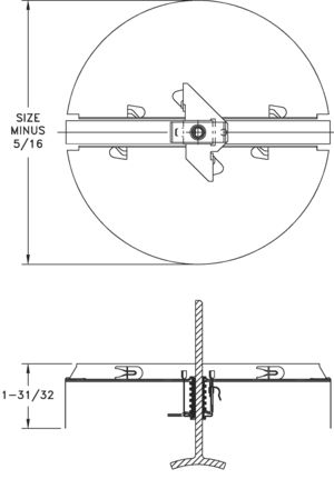 3800 - Round Butterfly Damper for T-bar Diffusers - dimensional drawing