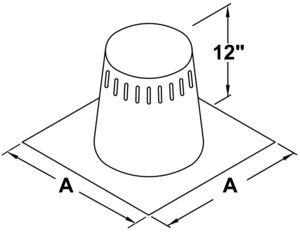 TLCFF - Tall Cone Flashing - dimensional drawing