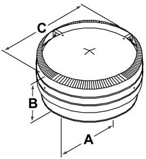 TLCC - Deluxe Rain Cap - dimensional drawing
