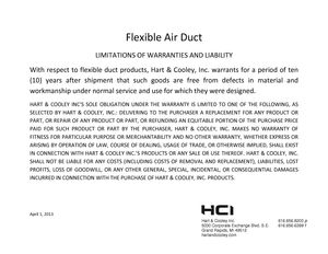 Hart & Cooley Flex Duct Warranty