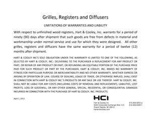 Hart & Cooley GRD Warranty